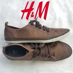 H&M Mens Pleather Low Cut Shoes Sz 10.5